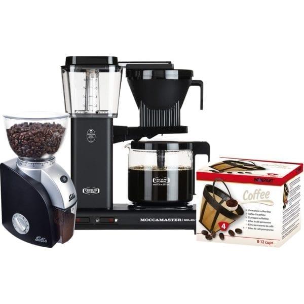 Moccamaster KBG Select Mat Zwart + Koffiemolen + Scanpart Permanent Filter